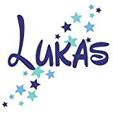 Wandtattoo Türaufkleber mit Namen, 73009-29cm-tricol-blau mit bunten Sternen fürs Jungenzimmer, Kinderzimmer Jungen, Wandaufkleber, Namensaufkleber Wunschname
