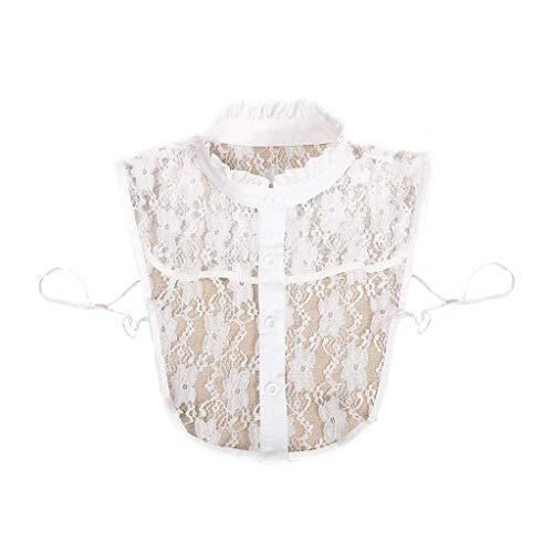 Tandou Krageneinsatz Damen Abnehmbare Blusenkragen Einsatz Fake Kragen (Weiß)