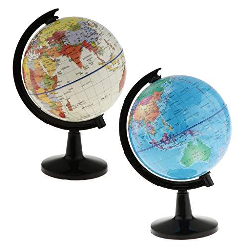 NLLeZ 2 Piezas 10.6cm Dia.Spinning Interactivo Mundo Globo Niños Educativos Aprendizaje Juguetes