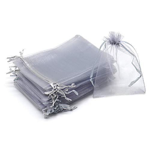 Dealglad 100pcs Drawstring Organza Jewelry Candy Pouch Party Wedding Favor Gift Bags (3x4, Gray)