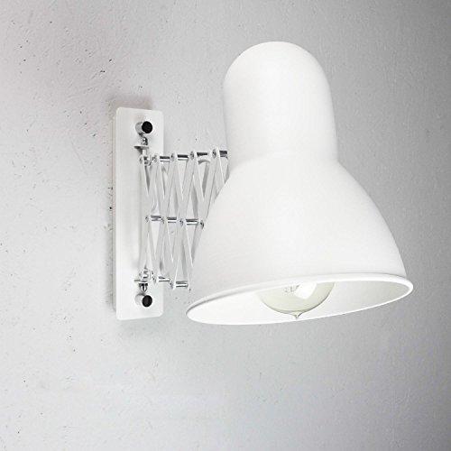 Ausziehbare Wandleuchte Weiß E27 verstellbar Vintage Scherenlampe Leseleuchte Wand Wohnzimmer Schlafzimmer Küche Innen Beleuchtung
