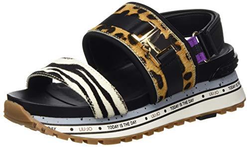 LIU JO Shoes LIU Jo Wonder Maxi 06-Sandal, Sandalias con Punta Abierta Mujer, Multicolor (Leopard S19c1), 38 EU
