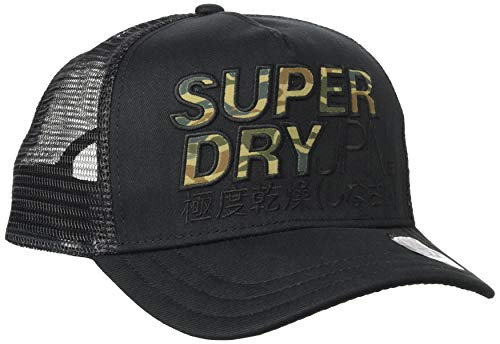 Superdry Lineman Trucker Cap Gorra de béisbol, Negro (Black 02a), Einheitsgröße para Hombre