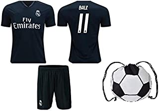Real Madrid Modric #10 / Bale #11 Youth Soccer Jersey Home/Away Short Sleeve Kit Shorts & Ball Backpack Kids Gift Set