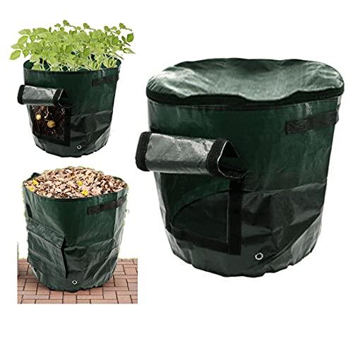1 Packung 15 Gallonen Gartensäcke, wiederverwendbare Blattbeutel mit Belüftung, Gartenabfallsäcke, Bio-Kompostbeutel, wasserdichter Garten-Tragetasche, Schmutzbehälter für Rasen, Hof, Gras, Abfälle.
