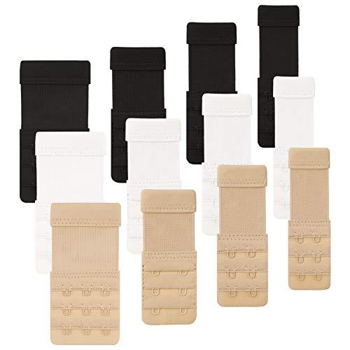 Opopark 12 Piezas Extensores de Sujetador Alargador del Sujetador cómodo con 2 ganchos, 3 ganchos y tirantes ajustables, 3 Colores