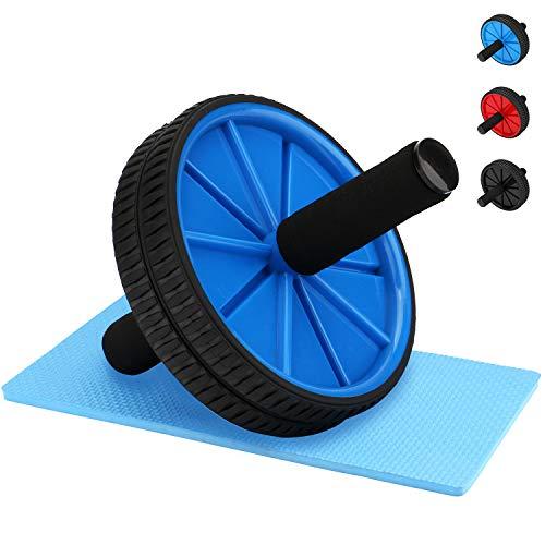 REEHUT AB Roller Aparato de Abdominales AB Wheel Rueda La Rueda de Ejercicios con Doble Rueda y cómodos Mangos de Espuma - Fácil de Montar, Ideal para el Entrenamiento Abdominal, Azul