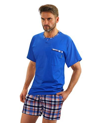 Sesto Senso Herren Schlafanzug Kurz Pyjama Baumwolle Kurzarm T-Shirt Pyjamahose Zweiteilig Set (M Jasiek Chaber)