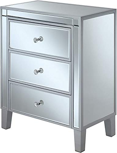 Convenience Concepts Gold Coast Large 3 Drawer Mirrored End Table, Silver /...