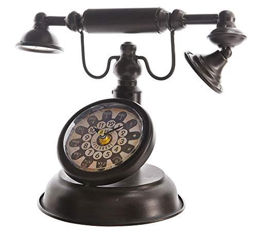 zeitzone Tischuhr Retro Nostalgie Telefon Antik-Stil Uhr Altes Telefon Vintage Braun