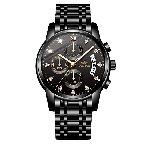 OLMECA Men's Watches Sports Fashion Wristwatches Rhinestone Diamonds Watches Waterproof Fashion Quartz Watches Boys Watch Stainless Steel Watch Black Color 0827-QHMDgd