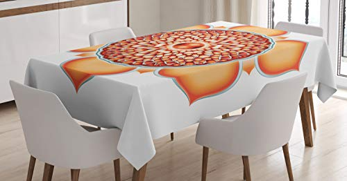 ABAKUHAUS Lotus Nappe, Harmony Motif, Linge de Table Rectangulaire pour Salle à Manger Décor de Cuisine, 140 cm x 170 cm, Orange Vermilion