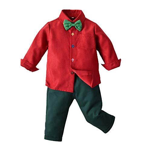 XFDYJ Disfraces para niños Monos De Camisa con Pajarita De Manga Larga para Niños Navideños Adecuados para Fiestas Navideñas En Interiores Y Exteriores,Red1,90CM