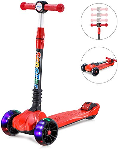 UHINOOS Kick Scooter for Toddler and Kids,Glide Scooter with 3 Wheel 4 Adjustable Height,Wide Deck PU Wheels Foldable Kids Scooter from 3 to 12 Years Old (red1)