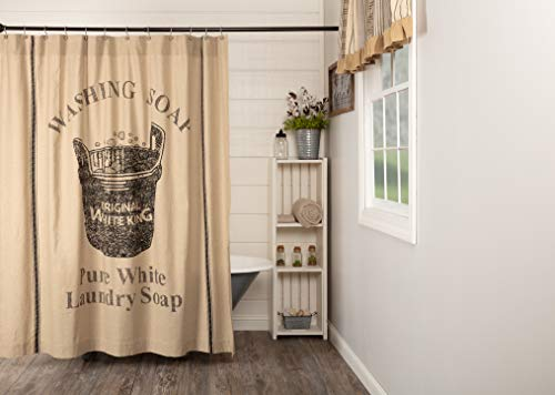 """VHC Brands Valley Farms Farmhouse Wooden Soap Tub Shower 72"""" x 72"""""""