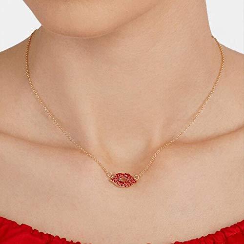 Collar Largo Colgante De Cristal,La Moda Sexy Mujer De Labios Rojos Collares Strass Vestido De Fiesta Accesorios De Joyería