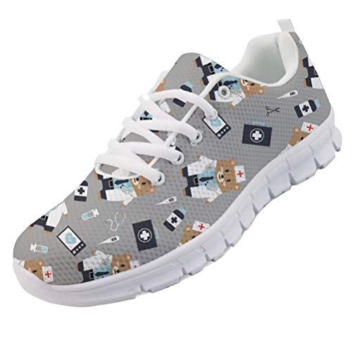 chaqlin Krankenschwester Bär Sneaker Running Sneakers für Damen Schuhe Outdoor Sport Casual Jogging Loafer Damen Mädchen Trainer Back to School Geschenke Größe EU40