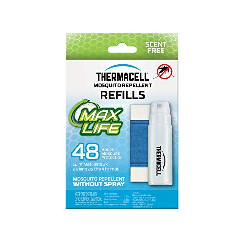 Thermacell Max Life Mosquito Repellent 48-Hour Refill; Includes 4 Fuel Cartridges & 4 Long Lasting Mats; Compatible With All Fuel-Powered Thermacell Repellers; No Mess, No Smell, DEET-Free