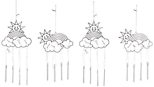 Baker Ross AG241 Regenbogen Sonnenfänger mit Windspiel-Bastelset Dekorieren-Spielzeugneuheit für Kinder, perfekte Party, Beute oder Preissackfüller (4er-Pack), Farblos, Assorted, 4 Pack