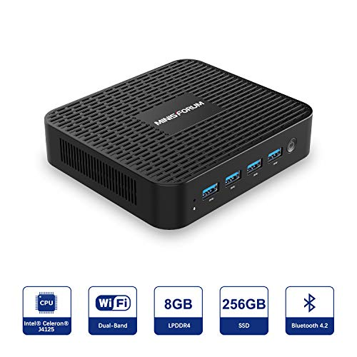 MINISFORUM Windows 10 Pro Mini PC, Intel Celeron J4125 Quad-Core-Prozessor, 8 GB LPDDR4 256 GB SSD, Unterstützung für lüfterlose Mini-Desktop-Computer 4K HD/HDMI+VGA Port/Dual WiFi/Gigabit Ethernet