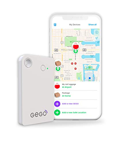 GEGO Global Tracker - Worldwide Real Time Tracking Device - car Tracker -Travel Luggage Locator (Better Than GPS Tracker) Global Bluetooth with Mobile App (Airline Compliant) No Roaming Charges White