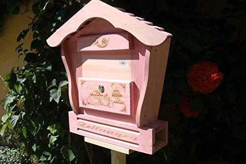 XXL Briefkasten HBK-SD-PINK aus Holz rot pink amazon rosarot Briefkästen Holzbriefkästen Postkasten Spitzdach - passt auch zu vielen Vogelhäusern Vogelhaus Insektenhotel Insektenhotels Vogelhäuser aus Holz Ergänzung für Vogelhäuschen und Vogelfutterhaus Nistkasten Meisenkasten