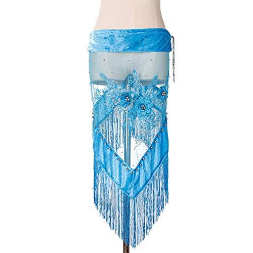 NICEWL Damen Bauchtanz Dreieck Quaste Hüfttuch,Handgefertigte Retro Stickerei Samt Hüfttücher Rock Gürtel,Bauchtanz Kostüm Zubehör,Blau