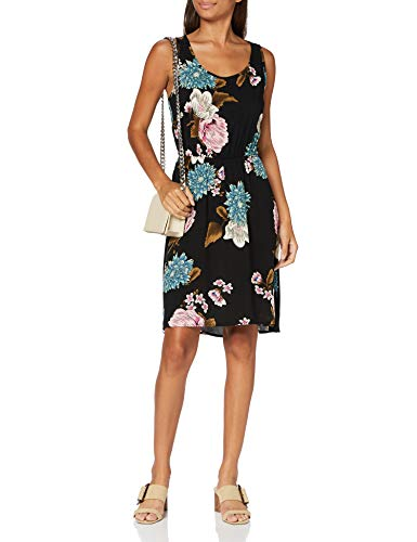 ONLY Damen Onlnova Life S/L SARA Dress AOP WVN 11 Kleid, Black, 38