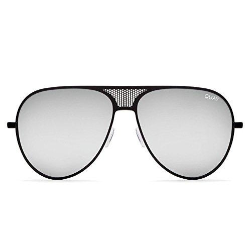 Quay Australia Unisex volwassenen ICONIC zonnebril, zwart (zwart/zilver), 140