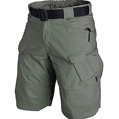 Pantalones cortos tácticos impermeables actualizados 2021, pantalones cortos tácticos urbanos/al aire libre, secado rápido, transpirable, verde ejército, mediano