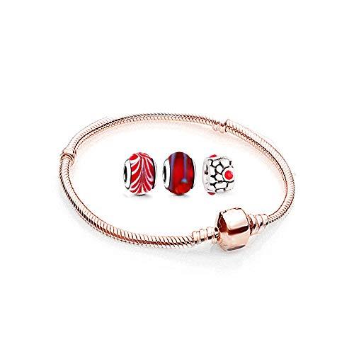 Charms Armband und 3 Anhänger Starter Set Angebot Zirkonia Murano glas bettel Pandora style kompatibel Schmuck Rosegold 20cm