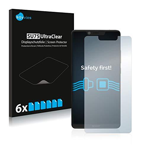 Savvies 6X Schutzfolie kompatibel mit Sharp Aquos D10 Bildschirmschutz-Folie Ultra-transparent