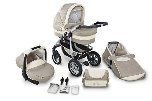 Clamaro 'CORAL' Kinderwagen 3in1 Kombi System mit Babywanne, Sport Buggy und 0+ (0-13 kg) Auto Babyschale, Luftreifen, Federung, Schwenkräder und EASY-STOP Bremse - 1. Cappuccino/Creme