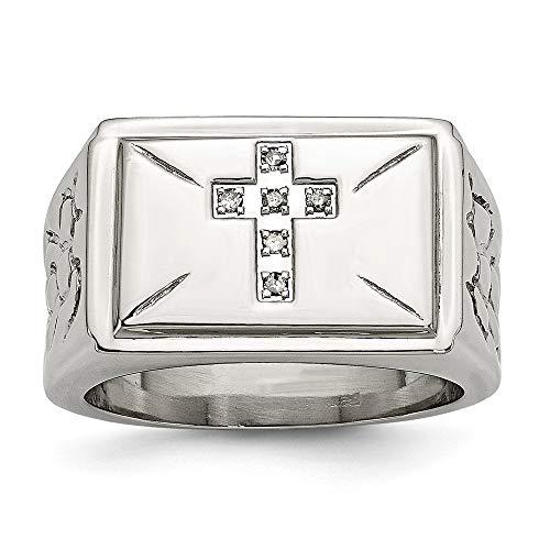 Cruz de diamantes en bruto de acero inoxidable pulido con lados con Anillo - Tamaño T 1/2 - JewelryWeb