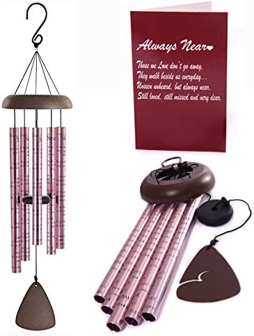 WIND CHIMES ROSE GOLD MEMORIAL GIFT SET FOR LOSS OF A LOVED ONE 35 LONG DEEP TONES CHIMES ALWAYS product image