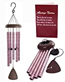 Urban Unlimited Wind Chimes Rose Gold Memorial Gift Set for Loss of A Loved ONE. DEEP Tones Chimes with Always Near Poem Engraved. Remembrance/Memorial Chimes Set, Sympathy Card and Gift Box Included