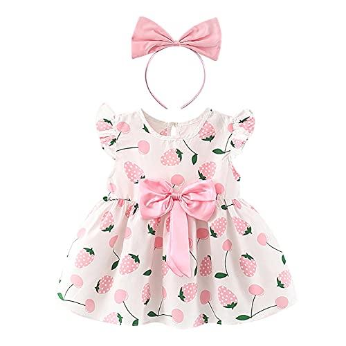 IMEKIS Baby Mädchen Sommer Kleidung Set Rüschenärmel Schöne Print Bowknot Top Kleid Mit Stirnband Prinzessin Geburtstag Casual Party Outfit Rosa 6-12 Monate
