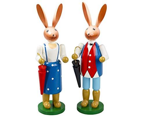 Osterhasenpaar aus Holz mit Schirm 16 cm groß Osterfigur aus Holz Osterdeko Hasenfigur schöne Dekofigur zu Ostern