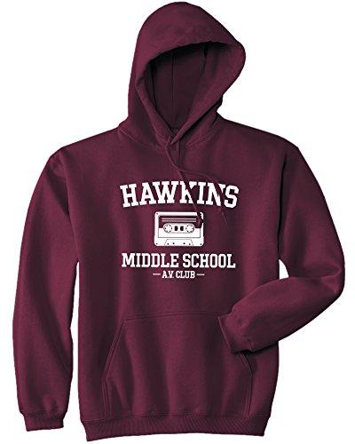 Mars NY Unisex Hawkins Middle School AV Club Hoodie (S, Maroon)
