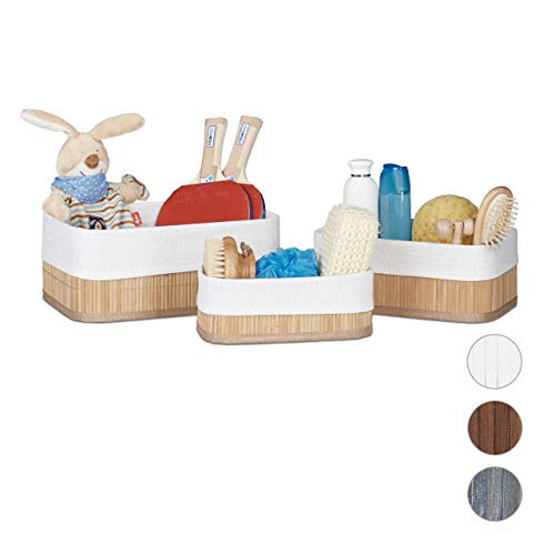 Relaxdays Cajas de almacenaje, Set de Tres, Funda Textil, Rectangular, Accesorio, Baúles, Bambú, Marrón Claro, Naturaleza, 20 x 30 x 13 cm