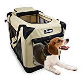 JESPET Soft Dog Crates Kennel for Pets, 3 Door Soft Sided Folding Travel Pet Carrier with Straps and Fleece Mat for Dogs, Cats, Rabbits, Grey Blue & Beige (36' L x 24' W x 27' H, Beige)