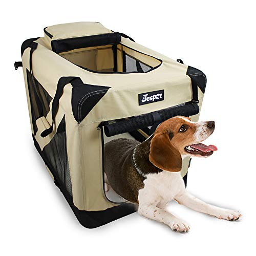 JESPET Soft Dog Crates Kennel for Pets, 3 Door Soft Sided Folding Travel Pet Carrier with Straps and Fleece Mat for Dogs, Cats, Rabbits, Grey Blue & Beige (30