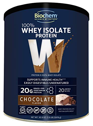 Biochem 100% Whey Isolate Protein - Chocolate - 30.9 oz - Pre & Post Workout - Meal Replacement - Keto-Friendly - 20g of Protein - Easily Digestible - Refreshing Taste - Easy to Mix