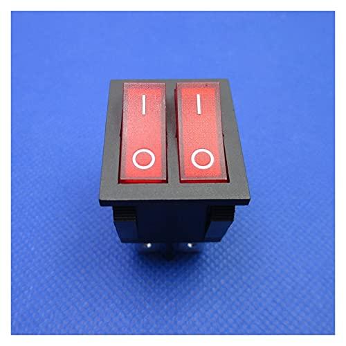 Interruptores Basculantes 2 unids A estrenar Botón Interruptor de Rocker Doble Interruptor eléctrico para calentador de aceite más cálido 6 Pines con luz ON-OFF 16A 250VAC Interruptor de accesorios