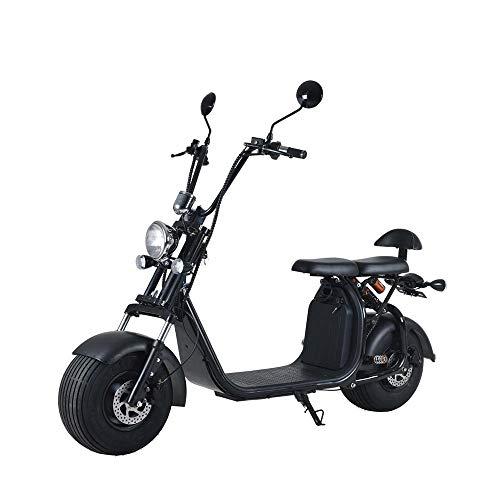 "Elektroroller ""Chopper X7"", 2000 Watt, 50 km Reichweite, 40 km/h, E-Scooter, Elektro-Roller, E-Roller mit Straßenzulassung, herausnehmbarer 60V/20Ah Lithium-Akku, City-Coco, Produktvideo, Schwarz"