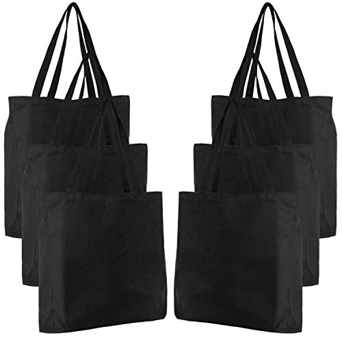 Canvas Tote Bag, Segarty 6 Pack 16' x 13' Reusable Grocery Shopping Bags Bulk Natural Cotton Large Tote Bag for Women, Black Canvas Bag for Beach Travel DIY Crafts, Plain Bags to Decorate Print