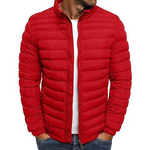 Mens Winter Warm Zip Up Puffer Bubble Jacket Coats Quilted Padded Outwear Coat (Red,M)