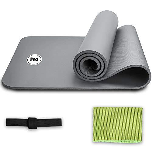 Zaurac - Esterilla de yoga, respetuosa con el medio ambiente, 1 mm extra gruesa, para ejercicios, pilates, entrenamiento y fitness con toalla de limpieza y correa de transporte gratis