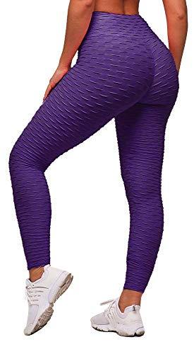 Memoryee Frauen Honeycomb Leggings geraffte Hintern heben hohe Taille Yogahosen schick mit Taschen Sport Bauch Kontrolle Gym/Purple/L
