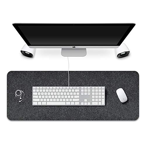 FireBee Extended Gaming Mouse Pad Non-Slip Desk Pad Protector Office Writing Mat Felt Base 0.12 Inch Thick (Dark Gray)